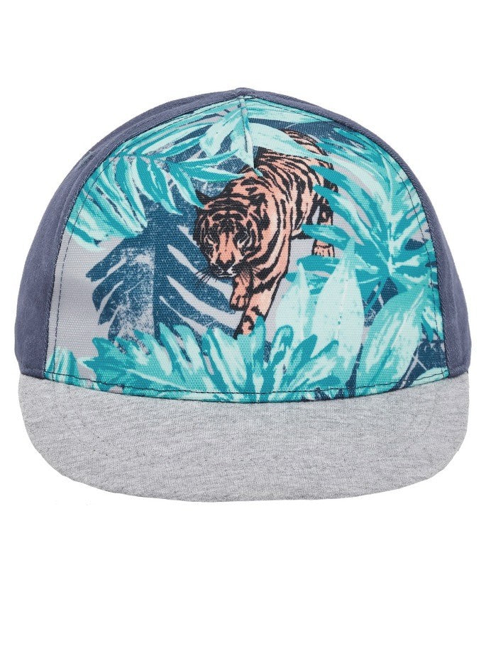 Name it Mini Boy Cap with Tiger Print in Indigo FRONT