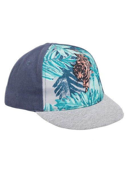 Name it Mini Boy Cap with Tiger Print in Indigo FRONT SIDE