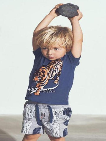 Name it Mini Boy Long Sweat Short with Animal Print in Grey & Indigo MODEL