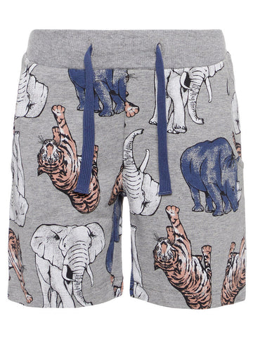 Name it Mini Boy Long Sweat Short with Animal Print in Grey FRONT