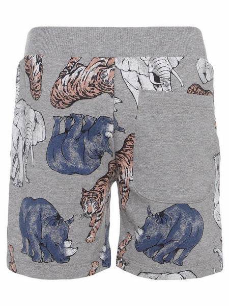 Name it Mini Boy Long Sweat Short with Animal Print in Grey BACK