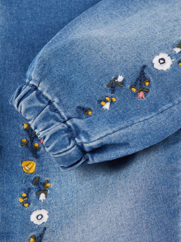 Name it Baby Girl Regular Fit Blue Jeans with Floral Embroidery CLOSE UP LEG