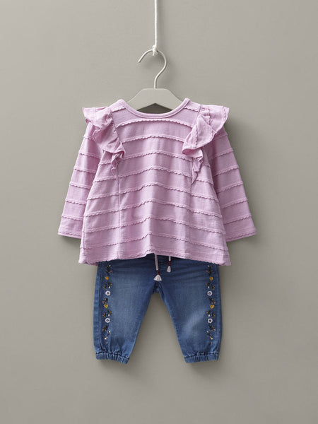 Name it Baby Girl Regular Fit Blue Jeans with Floral Embroidery OUTFIT