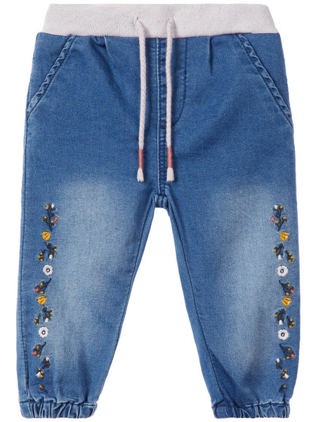 Name it Baby Girl Regular Fit Blue Jeans with Floral Embroidery FRONT