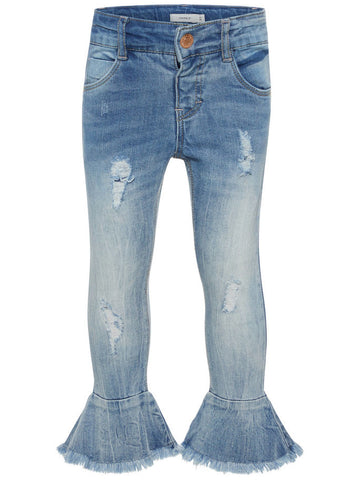 Name it Mini Girl Flared Blue Jeans with Rip Effect FRONT