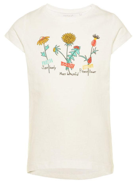 Name it Mini Girl T-Shirt with Colourful Flower Print in White FRONT