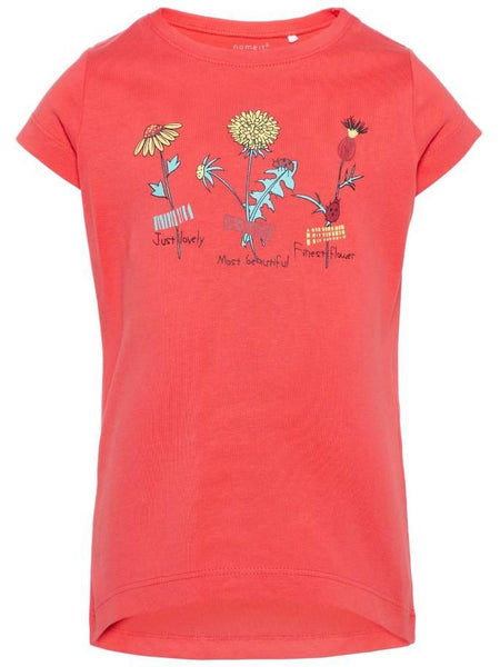 Name it Mini Girl T-Shirt with Colourful Flower Print in Red FRONT