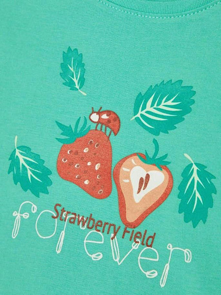Name it Mini Girl T-Shirt with Colourful Strawberry Print in Blue PRINT