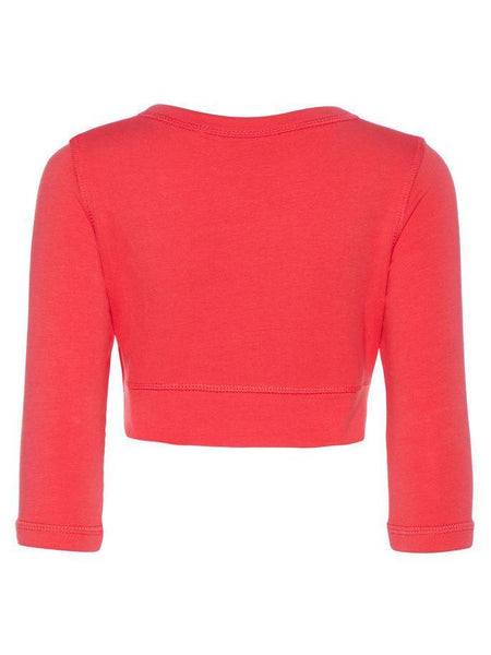 Name it Mini Girl Red Bolero with 3/4 Length Sleeves Back View
