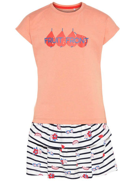 Name it Girls Two Pack T-Shirt & Skirt Set in Peach FRONT