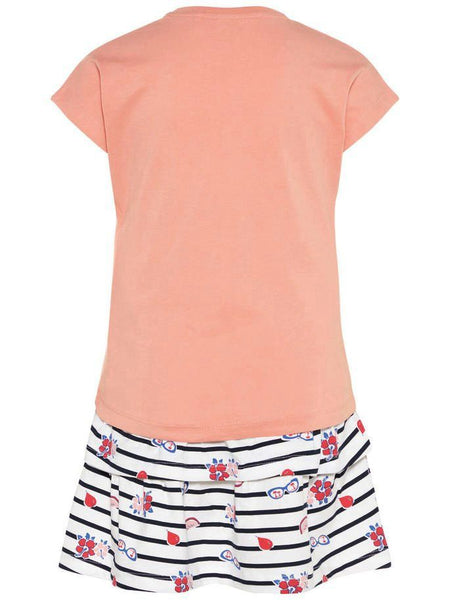 Name it Girls Two Pack T-Shirt & Skirt Set in Peach BACK