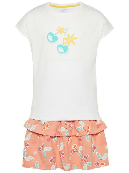 Name it Girls Two Pack T-Shirt & Skirt Set in WHITE FRONT