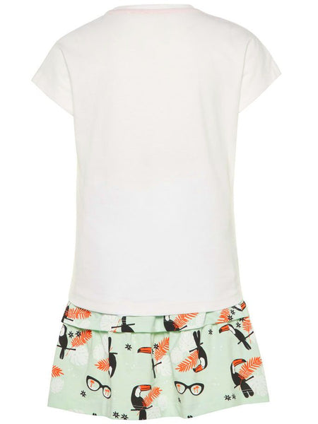Name it Girls Two Piece T-Shirt & Skirt Set in White BACK