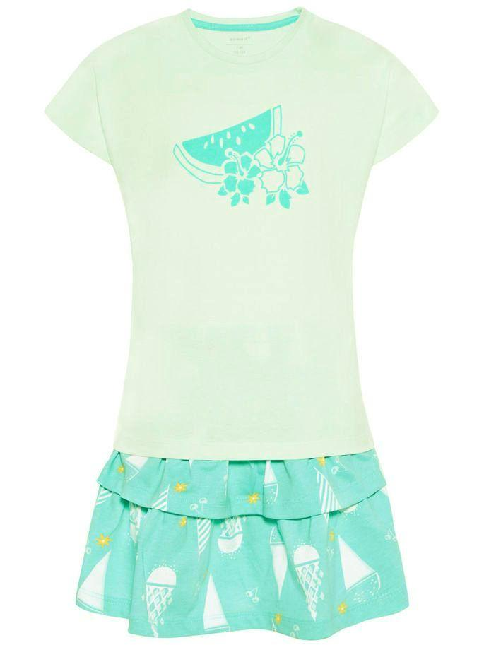 Name it Girls Two Piece T-Shirt & Skirt Set in Aqua FRONT