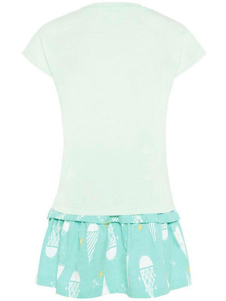 Name it Girls Two Piece T-Shirt & Skirt Set in Aqua BACK