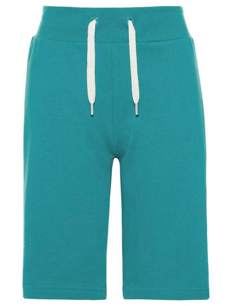 Name it Mini Boy Solid Coloured Long Summer Sweat Shorts LAKE BLUE FRONT