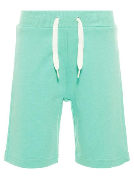Name it Mini Boy Solid Coloured Long Summer Sweat Shorts POOL BLUE FRONT