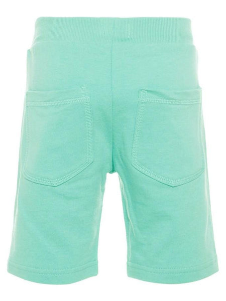 Name it Mini Boy Solid Coloured Long Summer Sweat Shorts POOL BLUE BACK