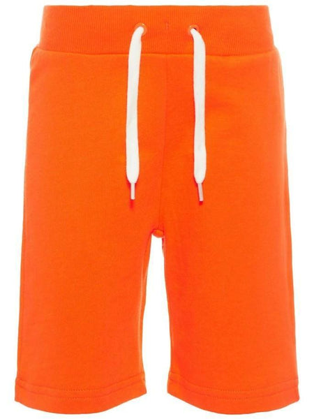 Name it Mini Boy Solid Coloured Long Summer Sweat Shorts SHOCKING ORANGE FRONT