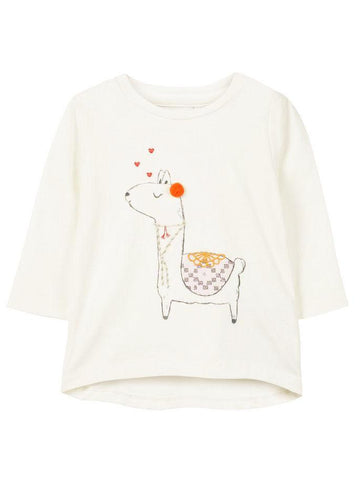 Name it Baby Girl Long Sleeved Organic Cotton White Top with Alpaca Print FRONT