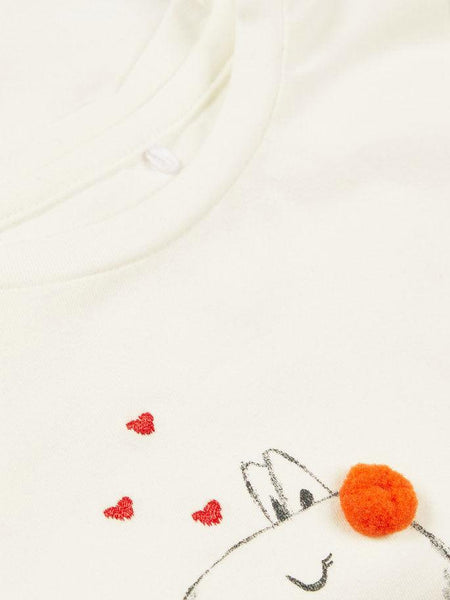 Name it Baby Girl Long Sleeved Organic Cotton White Top with Alpaca Print CLOSE UP