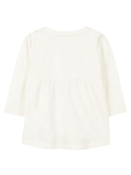 Name it Baby Girl Long Sleeved Organic Cotton White Top with Alpaca Print BACK
