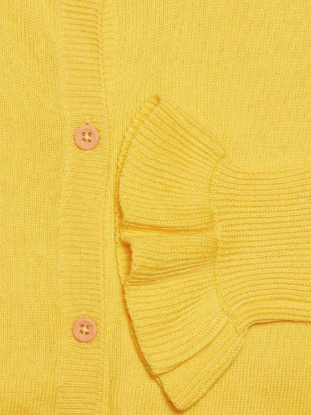Name it Girl Yellow Button Up Knitted Cardigan Frill Sleeve