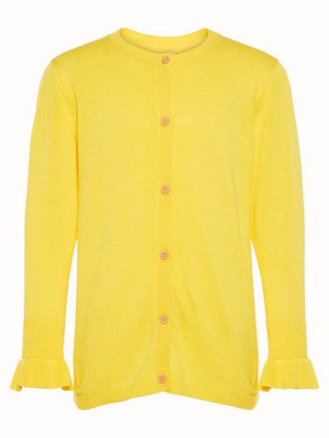 Name it Girl Yellow Button Up Knitted Cardigan EMPIRE YELLOW FRONT