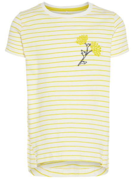 Name it Mini Girl Yellow Striped T-Shirt FRONT