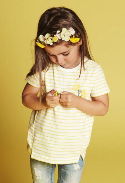 Name it Mini Girl Yellow Striped T-Shirt