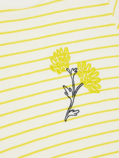 Name it Mini Girl Yellow Striped T-Shirt FLOWERS