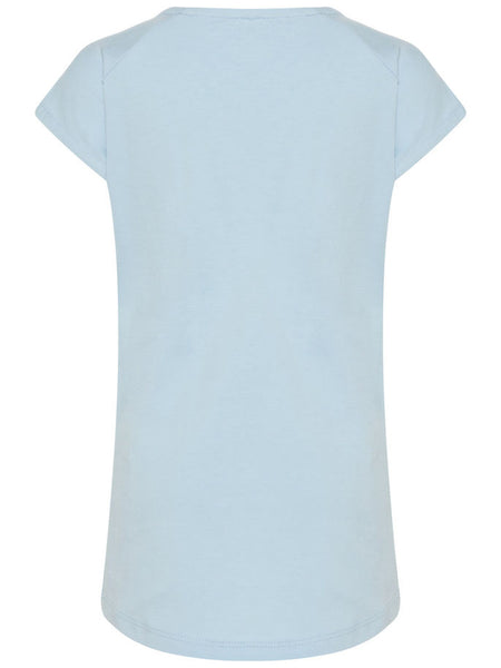 Name it Mini Girl Organic Cotton Cap Sleeved T-Shirt with Colourful Pom Poms CASHMERE BLUE BACK