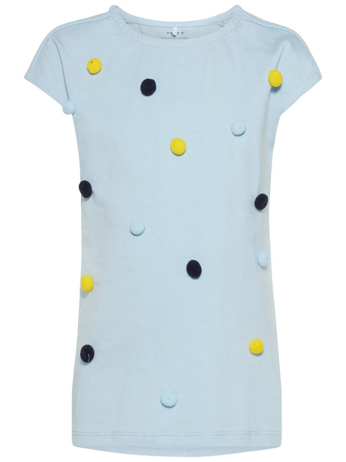Name it Mini Girl Organic Cotton Cap Sleeved T-Shirt with Colourful Pom Poms CASHMERE BLUE FRONT