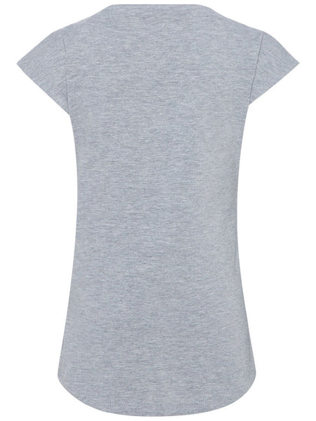 Name it Mini Girl Organic Cotton Cap Sleeved T-Shirt with Colourful Pom Poms GREY MELANGE BACK