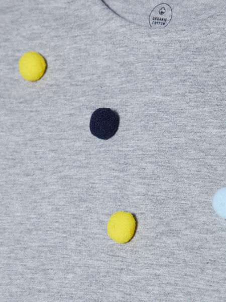Name it Mini Girl Organic Cotton Cap Sleeved T-Shirt with Colourful Pom Poms GREY MELANGE CLOSE UP