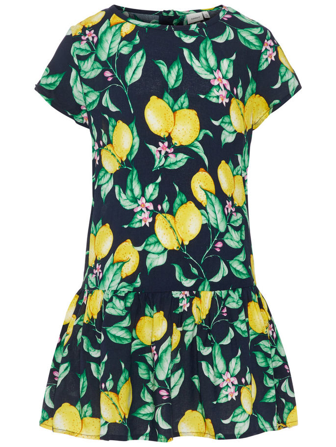 Name it Girls Short Sleeved Dropped Waist Dress with Colourful Lemon & Flower Print DARK SAPPHIRE FRONT