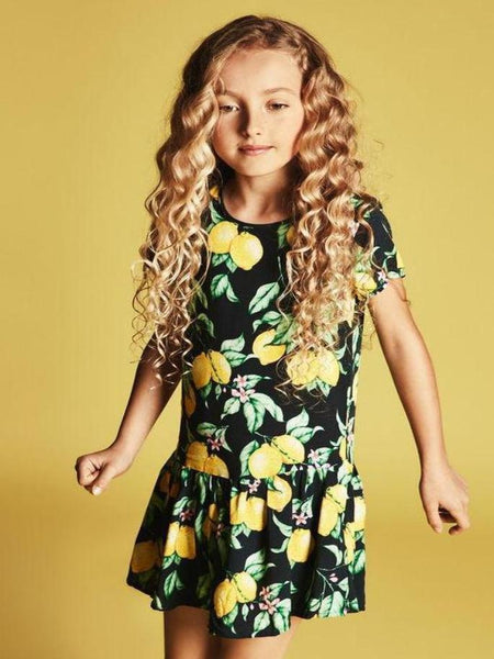 Name it Girls Short Sleeved Dropped Waist Dress with Colourful Lemon & Flower Print