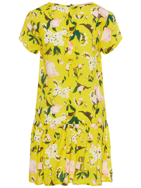 Name it Girls Short Sleeved Dropped Waist Dress with Colourful Lemon & Flower Print EMPIRE YELLOW BACK