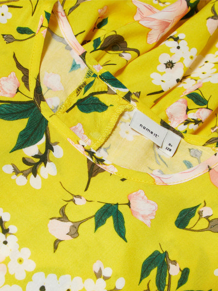 Name it Girls Short Sleeved Dropped Waist Dress with Colourful Lemon & Flower Print EMPIRE YELLOW NECK