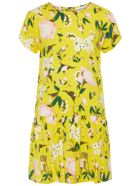 Name it Girls Short Sleeved Dropped Waist Dress with Colourful Lemon & Flower Print EMPIRE YELLOW FRONT