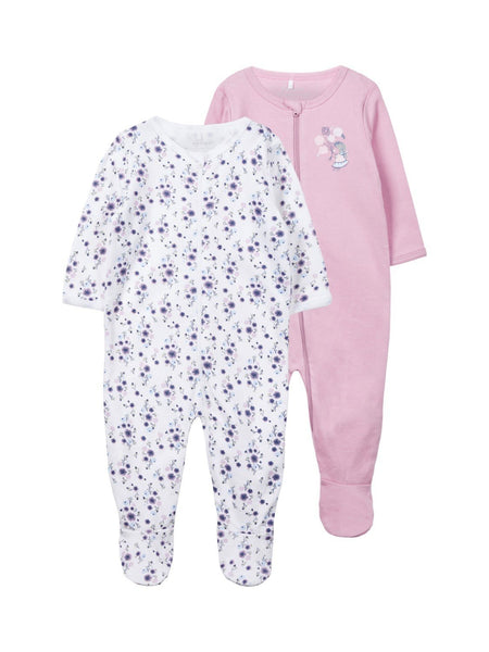 Name it Baby Girl 2-Pack Long Sleeved Zip Up Bodysuits