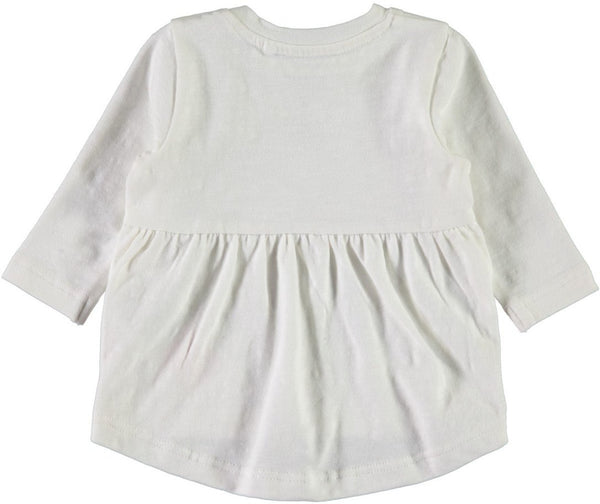 Name it Baby Girl White Long Sleeved Organic Cotton Top with Floral Love Print BACK
