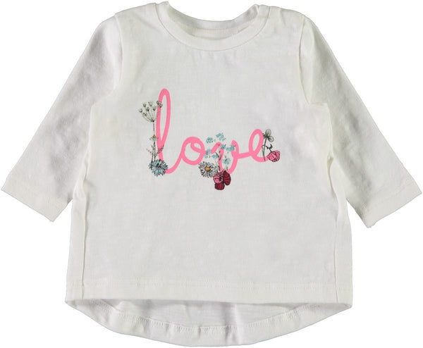 Name it Baby Girl White Long Sleeved Organic Cotton Top with Floral Love Print FRONT