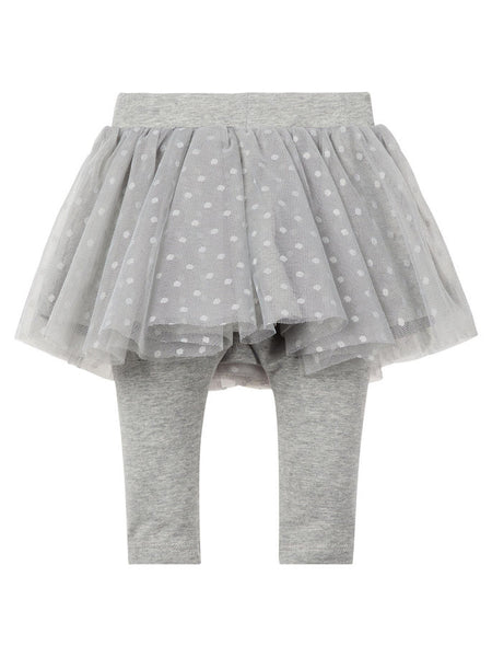 Name it Baby Girl Organic Cotton Tulle Skirt with Leggings GREY MELANGE BACK