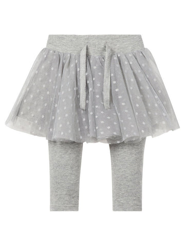 Name it Baby Girl Organic Cotton Tulle Skirt with Leggings GREY MELANGE FRONT