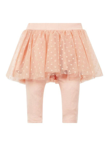 Name it Baby Girl Organic Cotton Tulle Skirt with Leggings ROSE CLOUD BACK