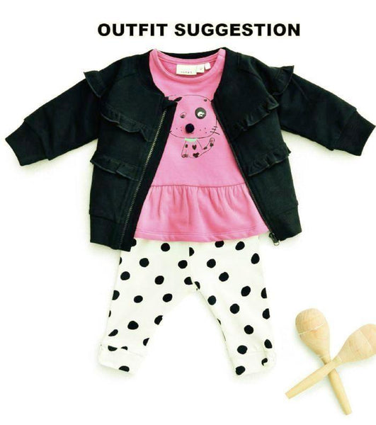Name it Baby Girl Organic Cotton Sweat Shirt with Dog Print in Pink & Red OUTFIT