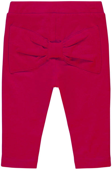 Name it Baby Girl Organic Cotton Solid Red Leggings with Bow Detail on Back