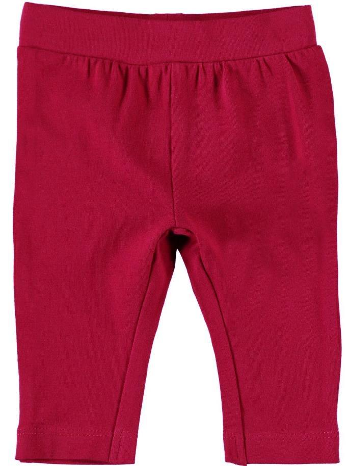 Name it Baby Girl Organic Cotton Solid Red Leggings with Bow Detail on Back FRONT