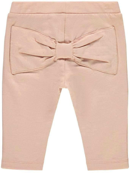 Name it Baby Girl Organic Cotton Solid Pink Leggings with Bow Detail on Back